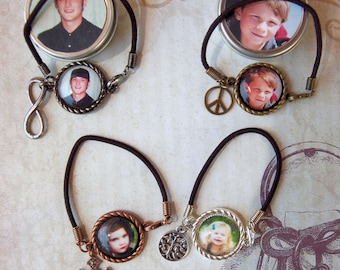 Photo Bracelet Custom Personalized Cord Bracelet with Charm in Matching Gift Tin for Mom Friends Family Teens Girls