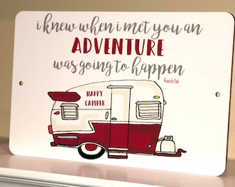 New - Happy Camper Metal Sign - Camping Decor -Camping Quote Sign - Couples - Red Camper - Home Decor - Vintage Camper