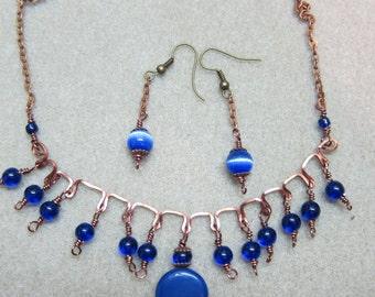 Lapis, cobalt Blue, Bohemian beaded necklace handcrafted earrings set handmade Watercolorsnmore
