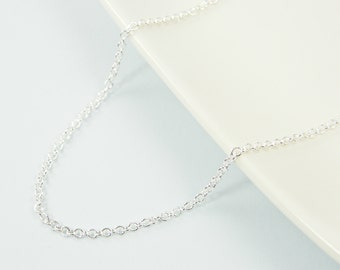 30 Inch Bright Silver Plated Chain Necklace Small Link |CH1-S30