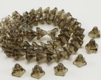 10 pearls flowers morning glories glass grey smoky quartz 6 x 9mm