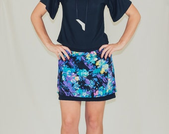 CLEARANCE*** Night Garden - Abstract floral layered miniskirt in vintage 80s fabric