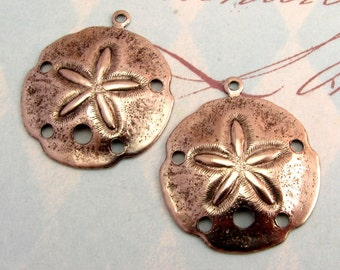 Sand Dollar Pendant, Antique Pewter Brass, 2 Pc. K1