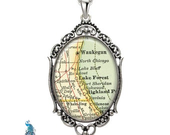 Vintage Map Necklace Oval Filigree Pendant City of Lake Forest Illinois Antique Map Pendant State of IL Map Jewelry