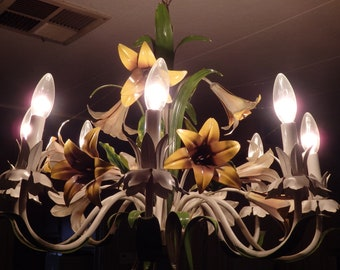 Vintage Italian Tole Chandelier 8 Lights with Lily Flowers! Beautiful! Very Good Condition!