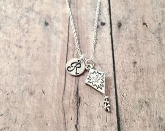 Kite initial necklace - kite jewelry, spring jewelry, kite festival jewelry, springtime jewelry, recreation jewelry, silver kite pendant