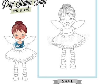 Fairy Ballet Stamp, Digital Stamp, Ballet Stamp, Digi Stamp, Girl Stamp, Color In Page, Card Design, Lineart, stamp,