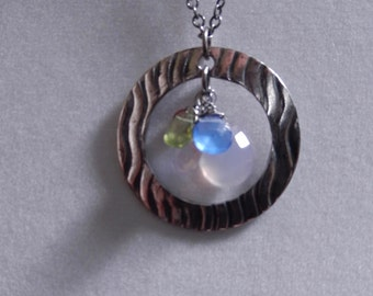 Silver Circle and Gemstone cluster necklace