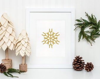 Gold Snowflake, Winter Decor, Winter Print, Christmas Printable, Winter wall art, Christmas home decor, Snowflake printable, Holiday decor