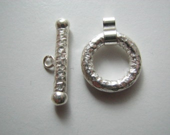 Large Toggle Clasp Hammered Sterling Silver 925, wholesale jewelry supplies, 20mm ring / 30mm bar