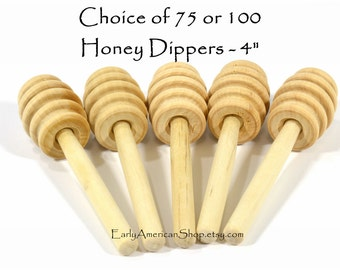 "BULK, 4"" Honey Dippers, Your Choice of 75 or 100 Honey Dippers-Unfinished Hardwood-4 Inches Long-Honey Stick-Wedding Favors"