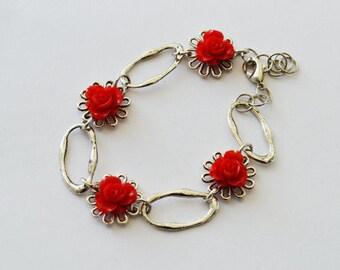 SALE - Vintage style red rose flower bracelet