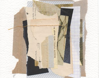 Original collage on paper, contemporary collage art
