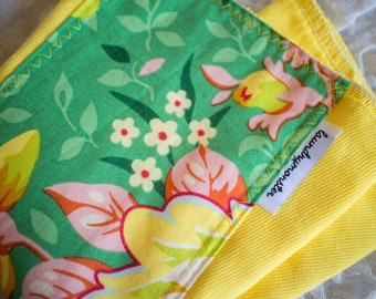 Baby burp cloth - Bright yellow pop garden floral hand dyed burp cloth