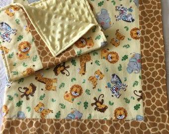 Jungle Fun Baby Blanket/Burp Cloth Set