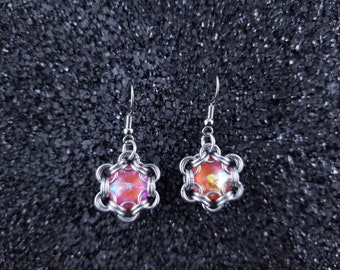 Orange Rivoli Hexagonal Silver Chainmaille  Earrings