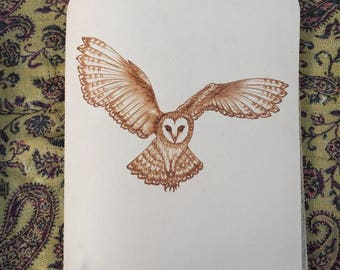 Refillable Leather Journal with Burned Flying Owl Design