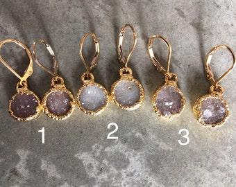 Druzy earrings, druzy jewelry, druzy, bridal jewelry, sister gift, aunt gift,wedding jewelry, valentines day gift, girlfriend gift