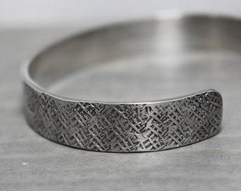 Mens Silver Cuff, 3/8 Crosshatch Oxidized Silver Cuff, Wide Silver Cuff, Hand Stamped Jewelry, Personalized Jewelry, Jewelry for Men,