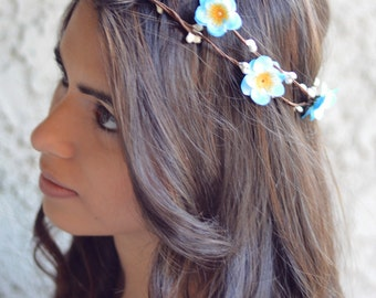 THE HILDE - Hawaiian Blue Flower Halo Crown Double Vine Flower Girl Spring  Hair Jewelry Hair Boho Floral Crown Christmas Crown