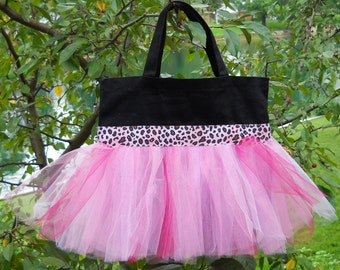 Tutu bag, dance bag, ballet tote bag, Embroidered Dance Bag - Black bag with Pink Leopard Ribbon and Pink Tulle Tutu Tote Bag - TB191