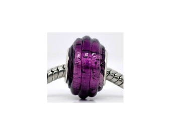set of 3 14 mm x 10 mm dark purple glass beads