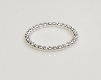 Silver Bead Silver Halo Ring