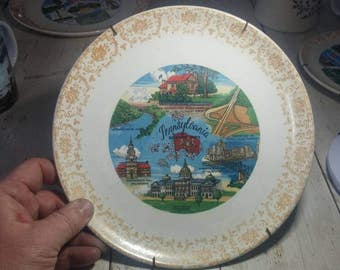 PENNSYLVANIA SOUVENIR PLATE Wall Hanging Beautiful Vintage with Wire Hanger