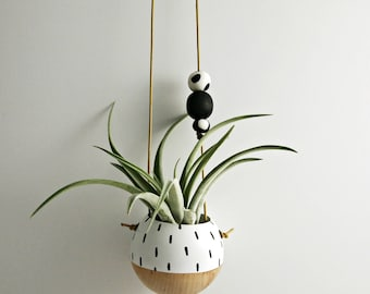 Mini Hand-Painted Hanging Planter // Succulent Planter Air Plant Planter
