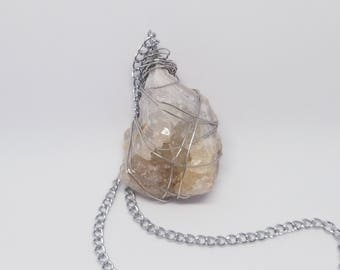 Wire Wrapped Agate with Quartz