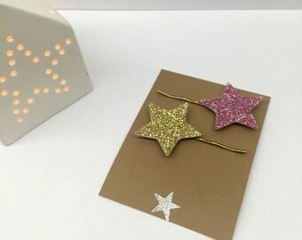 Glitter stars (set of 2) hair clips