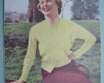 Vintage Knitting Pattern 1940s 1950s Women's Twin Set Cardigan Jumper Sweater 40s 50s original pattern Sirdar No. 1408 UK classic style