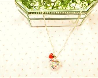 Sprinkles Necklace / women's jewelry / girl's jewelry / heart necklace / women / girls / jewelry / confetti heart necklace / Sprinkles