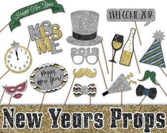 2018 New Years Eve Photo Booth Props - Printable Decorations and Banner - Over 40 Glitter Props- New Years Party - INSTaNT DOWNLoAd - SALE