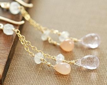 Pink Amethyst and Peach Moonstone Slinky Dangle Handmade Earrings in 14k Gold Fill, Long Delicate Pastel Jewelry