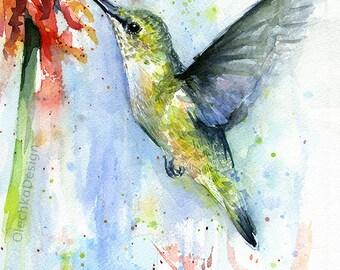 Hummingbird Watercolor Red Flower Art Print, Bird Painting, Colorful Decor, Wildlife, Hummingbird Print, Abstract Hummingbird, Atmospheric