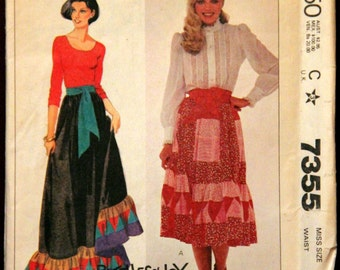 Patchwork Ruffle Skirt and Sash 1980s Vintage Sewing Pattern McCall's 7355, UNCUT, Size 10