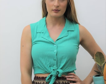 1990s Green Cheescloth Tie-Waist Crop Top Size UK 10, US 6, EU 38