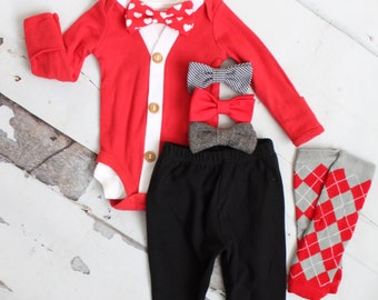Valentine Cardigan Bodysuit, Bow Tie Bodysuit, Black Pants, Plaid Leg Warmers Newborn Baby Boy Coming Home Outfit Set up to 4 Items Red Gray