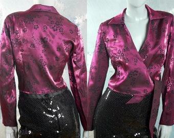 80s Satin Blouse, Blush Purple & Black Floral Crossover Top: Size 10 US, Size 14 UK