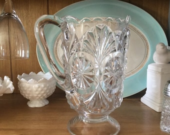 Early American Pressed Glass Pitcher, 42 oz., water pitcher, milk pitcher, clear