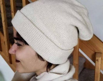 Alpaca Blend Stocking Hat Natural Cream Men/Women