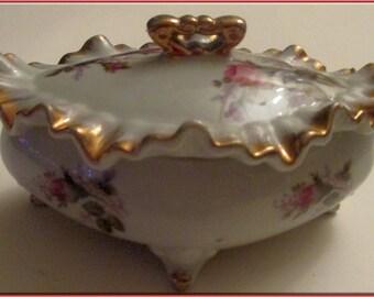 Moss Rose Trinket Box--Made in Japan-Vintage Ceramic