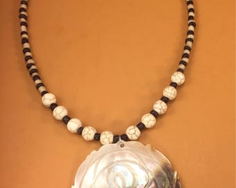 Shell Stone Seedbead Beaded Necklace