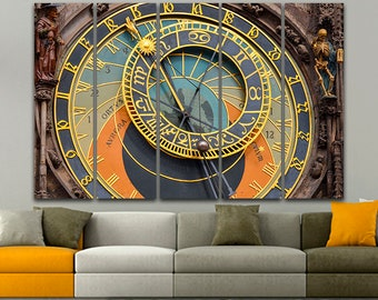 Astronomical clock Print on canvas Town Hall Prague Clock art Clock print Prague print Prague canvas Clock mechanism Prague clock Art decor