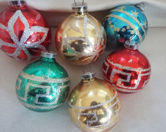 6 West German Christmas glass ornaments glitter