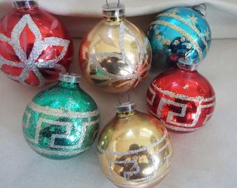 6 West German Christmas glass ornaments glitter