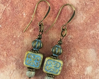 Sand and Sky Czech glass square tile beads with brass