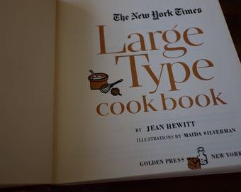 New York Times large type cookbook, vintage large type cookbook, NYT cookbook, Jean Hewitt cook book, food illustrations, farmhouse kitchen