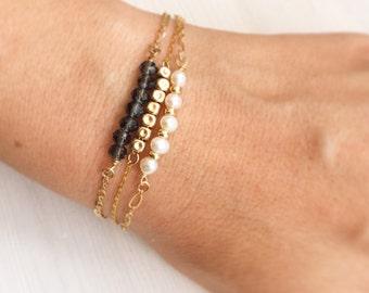 Bracelet set, Boho bracelet set, Stacking bracelets, Layered bracelets, Beaded bracelets, Dainty bracelets, Gold bracelet set